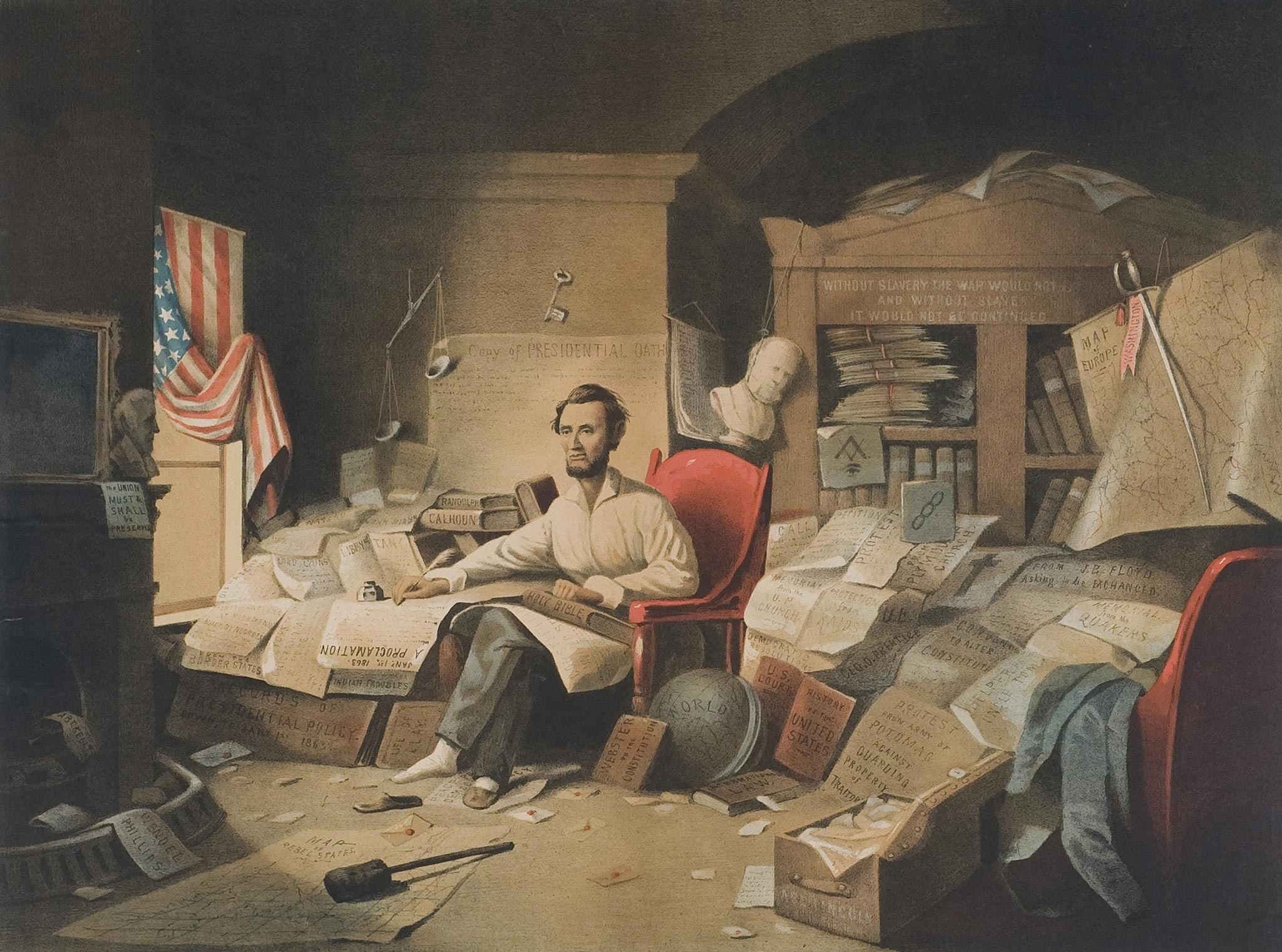 Adolphus Forbriger & Co. chromolithograph after David Gilmore Blythe, President Lincoln Writing the Proclamation of Freedom, January 1, 1863 71.2009.081.0206