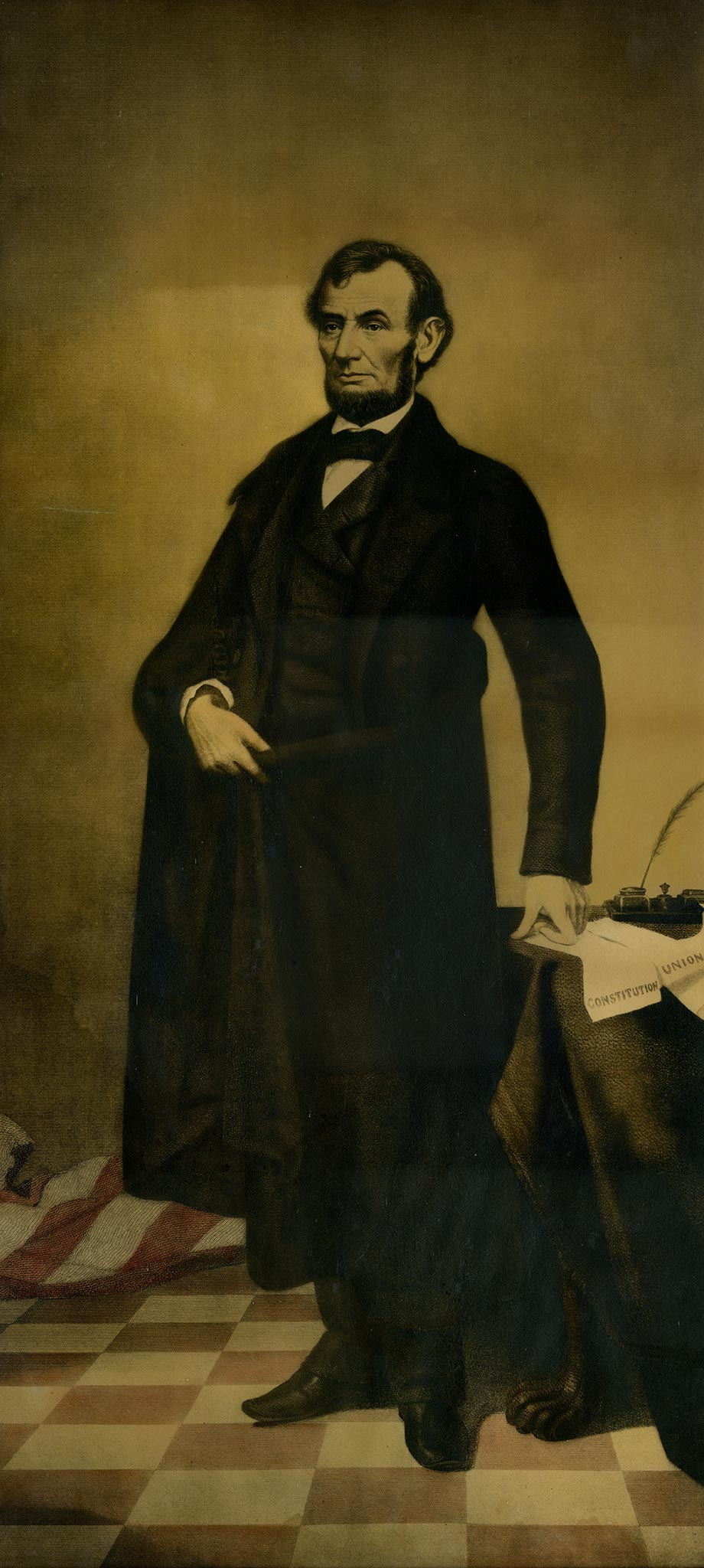 William Pate created this mezzotint engraving of the 16th president by using the background and body from Alexander Ritchie's 1852 engraving of John C. Calhoun and replacing Calhoun's head with Abraham Lincoln's. Judge Williams notes that this portrait, which was displayed in his 6th-grade classroom, was the inspiration for his 60-year study of Lincoln and the Civil War and the Frank J. and Virginia Williams Collection.