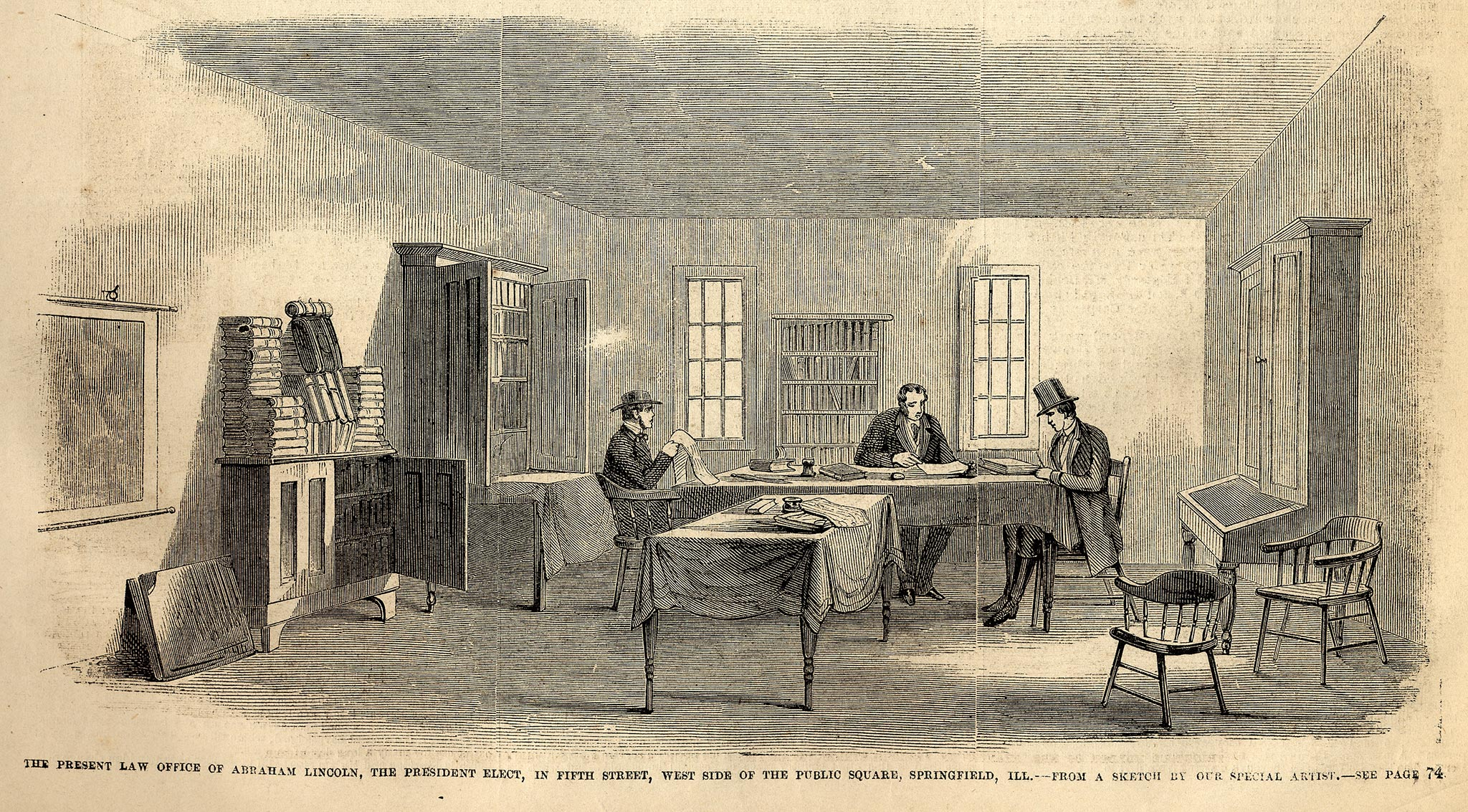 Lincoln & Herndon Law Office 1860 published in Leslie's Illustrated, Dec. 22, 1860