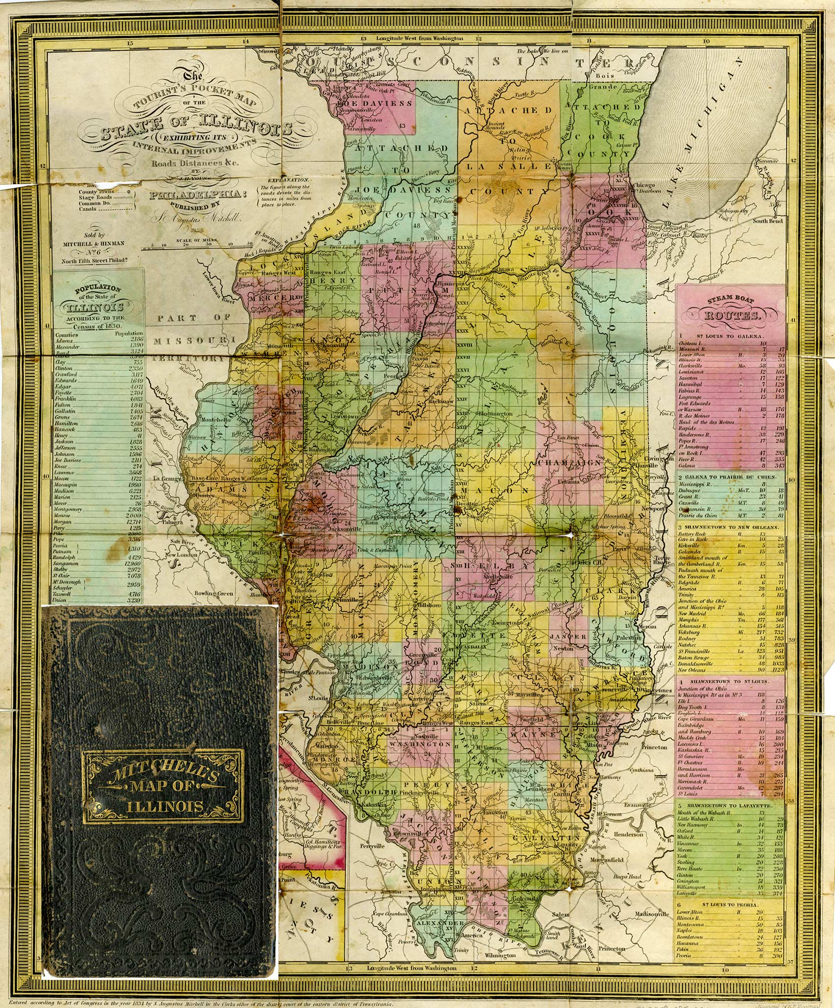 The Tourist's Pocket Map of the State of Illinois, 1836 71200908520652