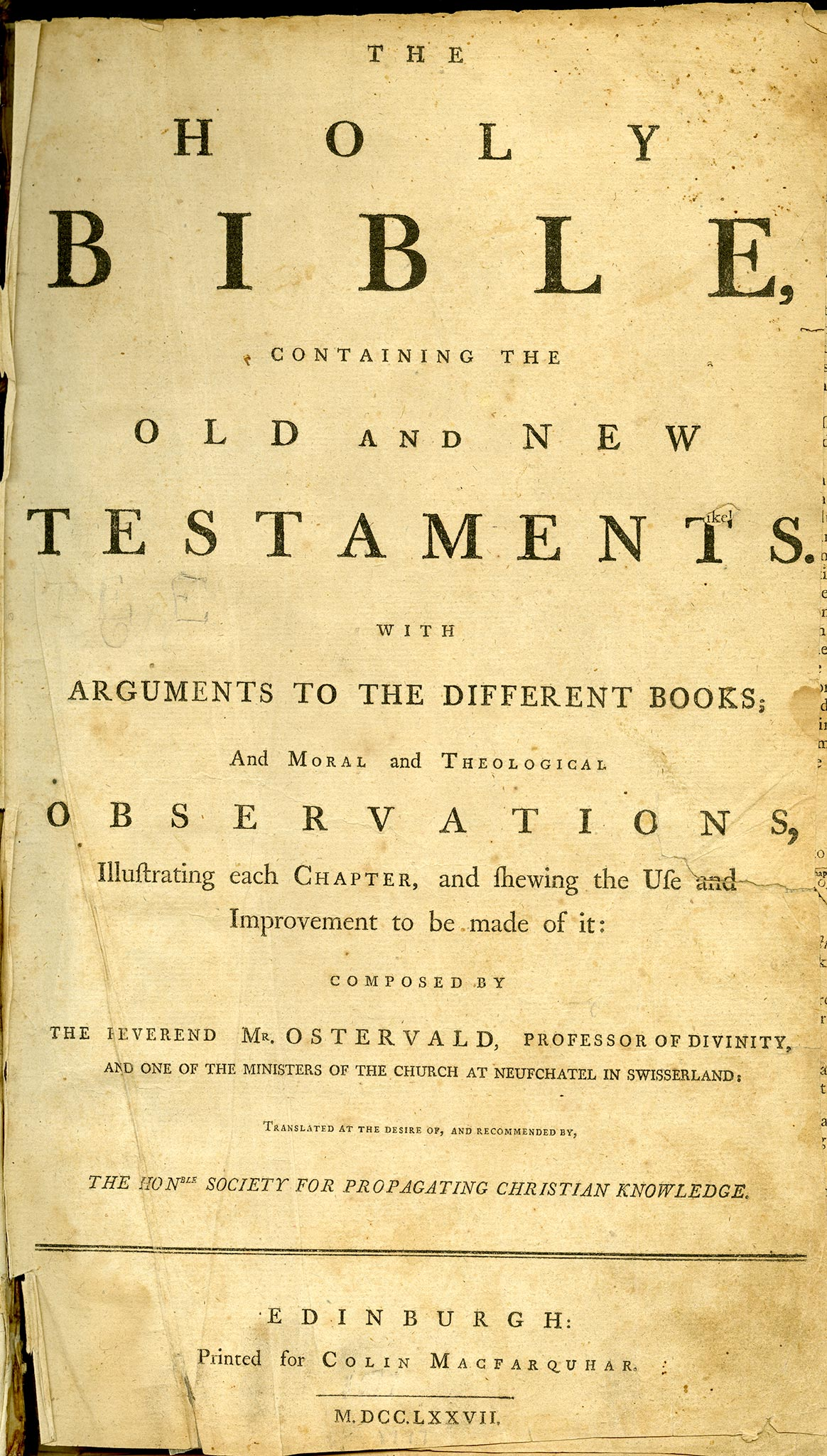 The Holy Bible with commentary by the Reverend Mr. Ostervald (1777). The Thomas Lincoln family owned and read the 1799 edition of this Bible MQ5215
