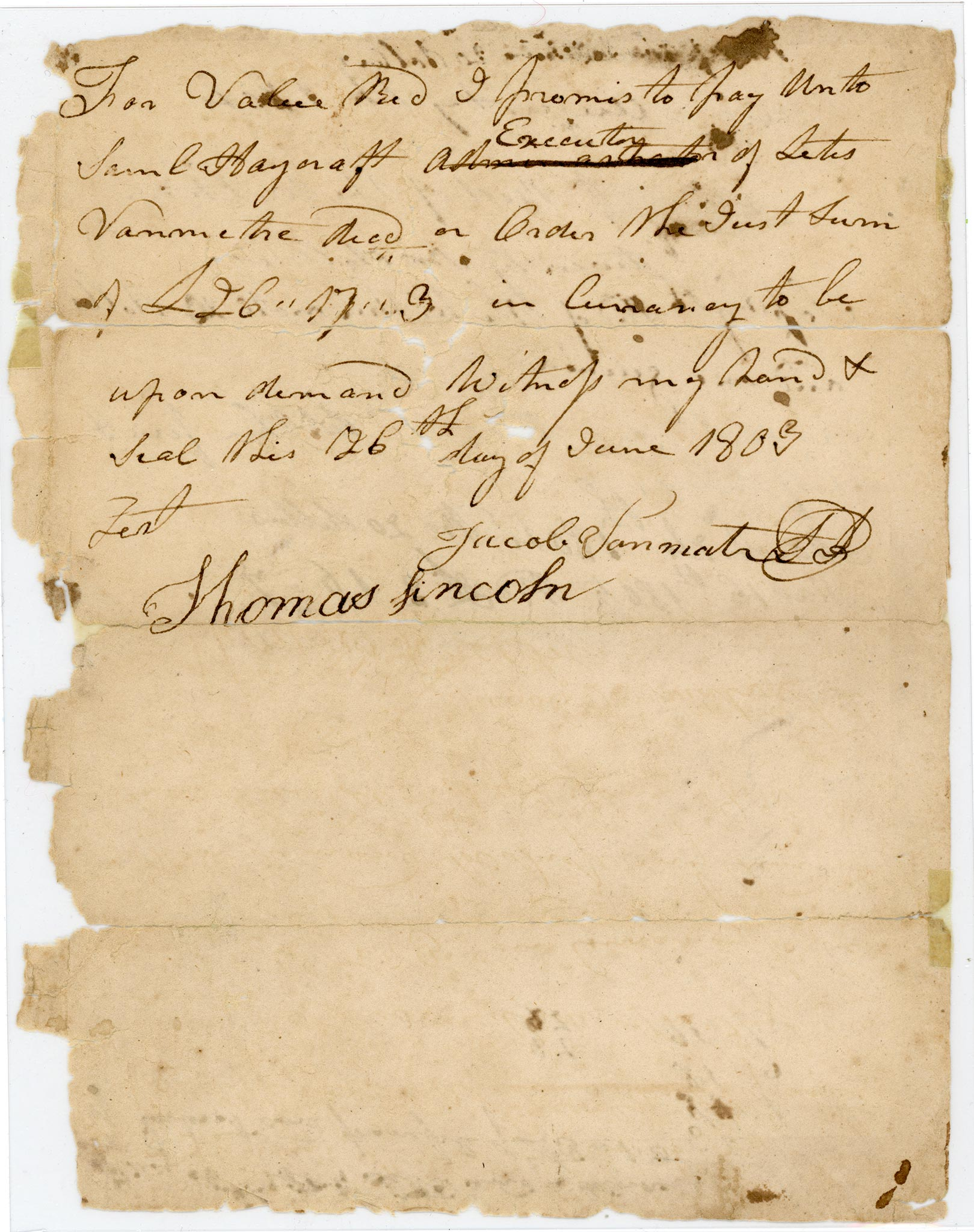 Thomas Lincoln signature, June 26, 1803 71200908303000